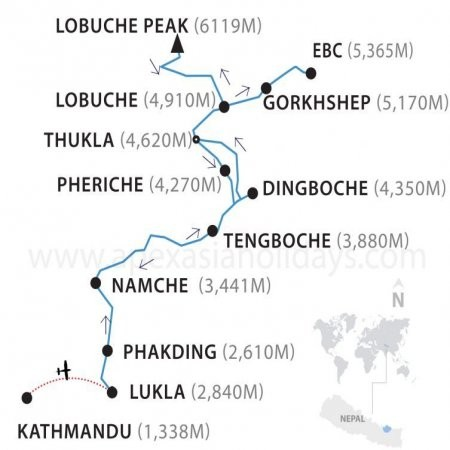 Lobuche Peak Climbing map