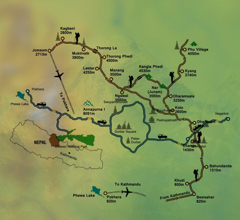 Nar Phu Valley Trek Map