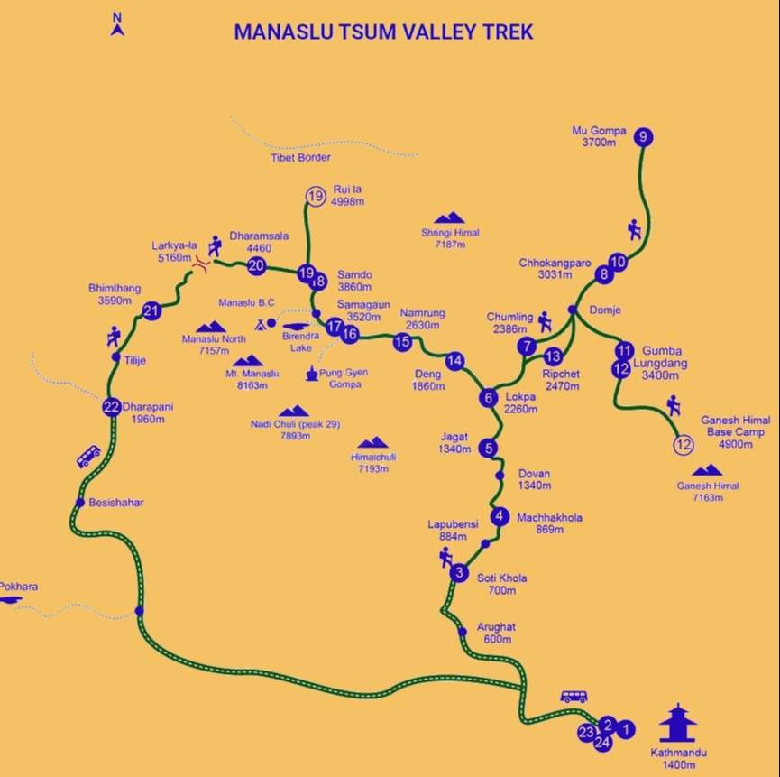 Tsum Valley Trek Map