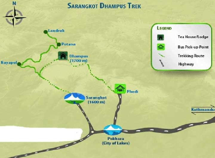 Dhampus Sarangkot Trek Map