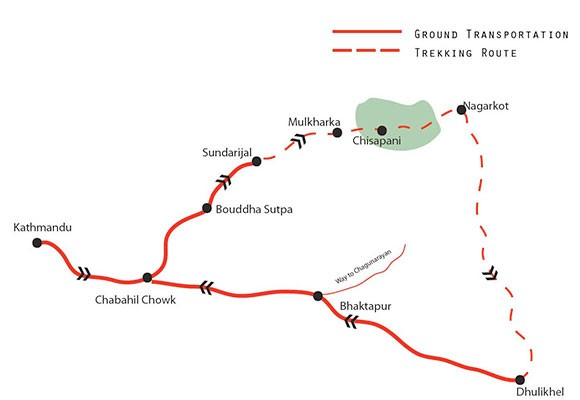 Chisapani Nagarkot Hiking Map